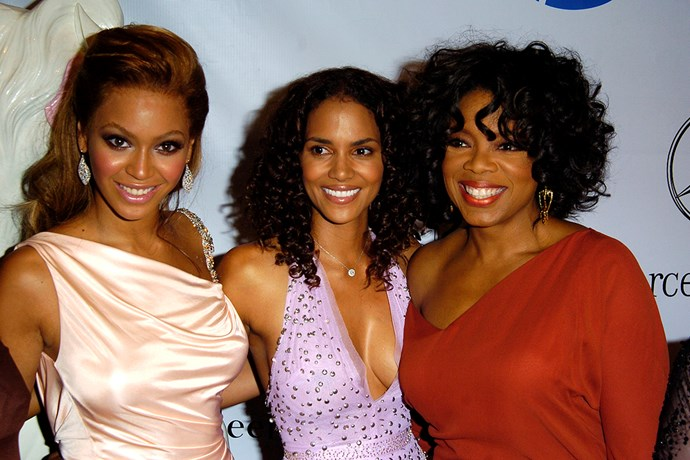 Oprah with friends Halle Berry and Beyonce.