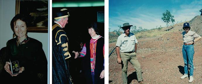 Left to right: Christine receiving the public service medal for outstanding service to science and technology in the Queen's Birthday Honours in 1994; accepting her diploma; out in the field during her work.