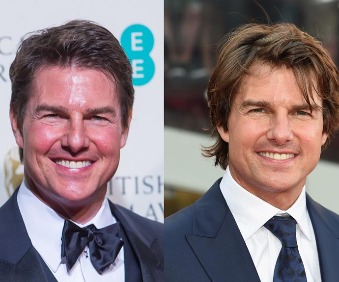 Tom Cruise (left) at the BAFTAS on Sunday and the A-lister less than a year ago in July 2015 at the New York premiere of Mission Impossible: Rogue Nation.