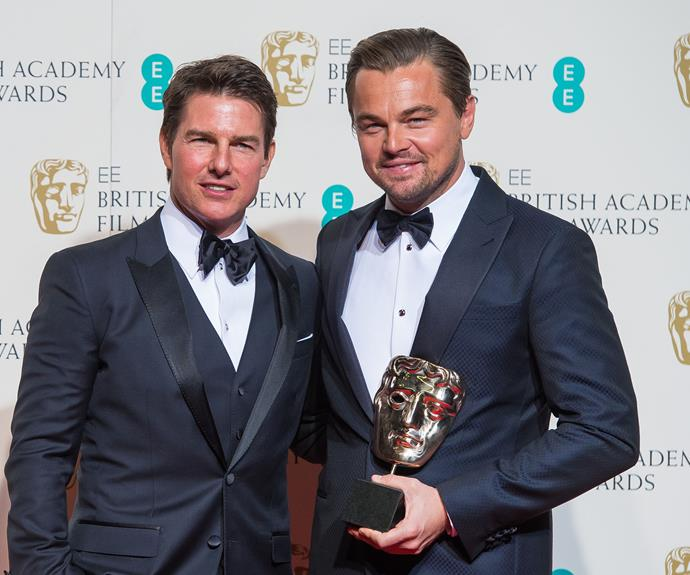Tom Cruise and Leonardo Di Caprio at the 2016 BAFTAS. Tom was there are a surprise presenter and Leo took out the Best Actor award for his performance in The Revenant.