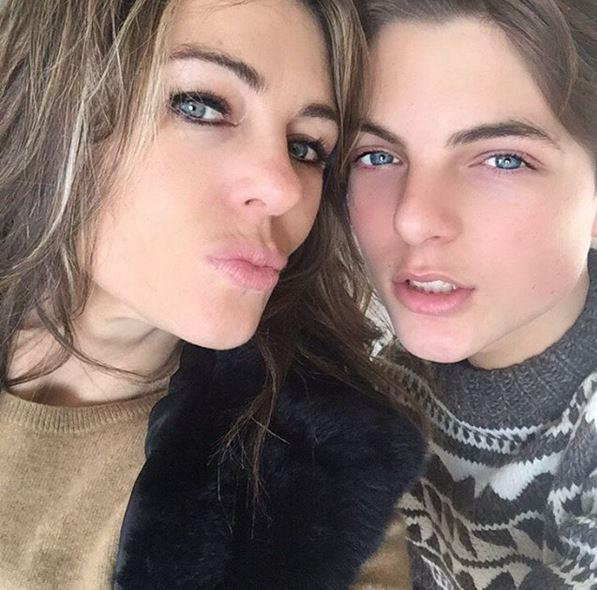 Liz Hurley and her son, Damian.