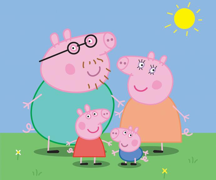 Peppa Pig and her family.