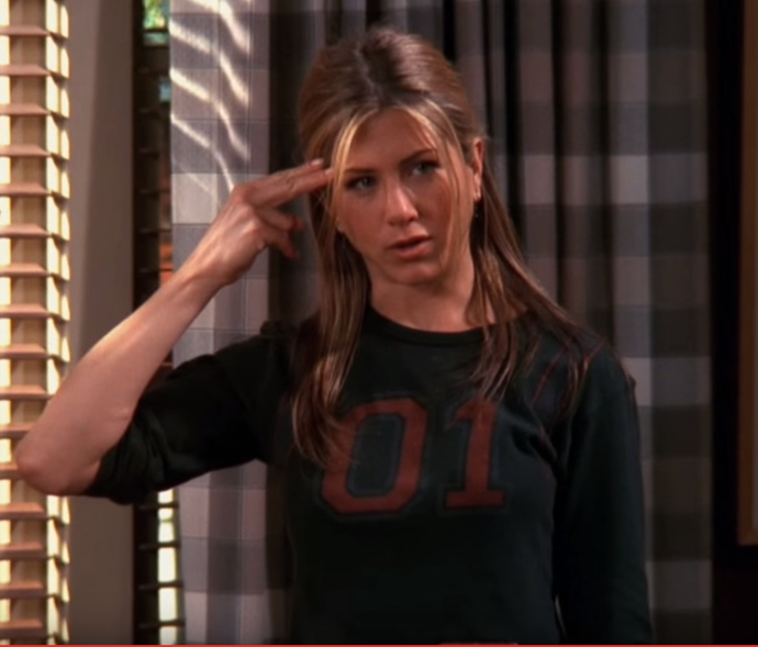 """*The One With Unagi*. Rachel beats Ross at his Unagi game, or as she calls it, """"salmon skin roll""""."""