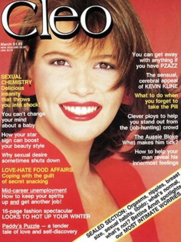 This is supermodel Elle MacPherson on the cover of Cleo magazine in 1984.