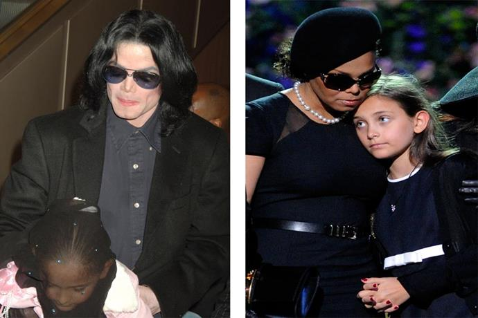 Left: Paris spent much of her youth under a veil when she was with her father Michael. Right: Comforted by her aunt Janet Jackson at the public memorial service for her father, Michael Jackson in 2009.