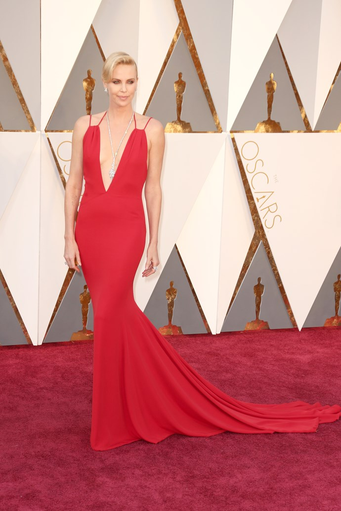 Charlize Theron arrives at the 88th annual Academy Awards.