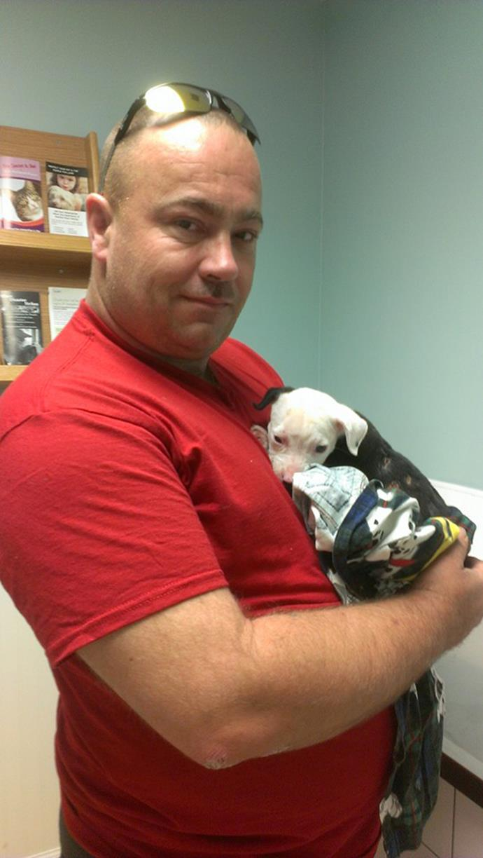 """""""Pet Hero. He rescued Jake from the fire then decided to adopt him after the family left him at the vet."""""""