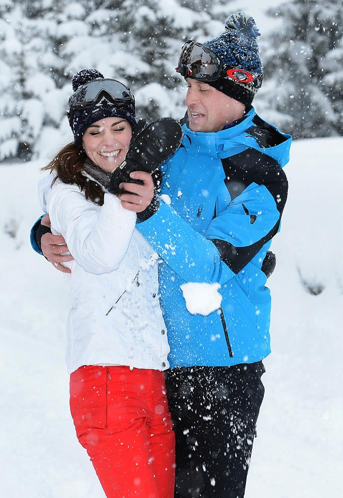William and Kate couldn't resist messing around in the snow.