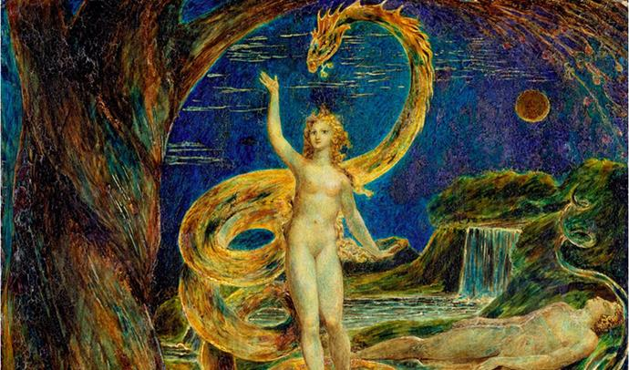 Eve Tempted By The Serpent, painting by William Blake. Snakes have held strong symbolism throughout history and are referenced throughout the Christian bible. (Image: Wikimedia Commons).