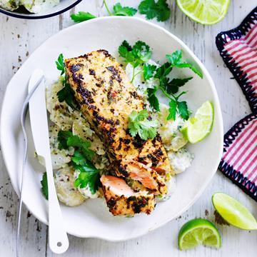"[Jerk salmon with yoghurt potatoes](http://www.foodtolove.com.au/recipes/jerk-salmon-with-yoghurt-potatoes-18553 target=""_blank"")"
