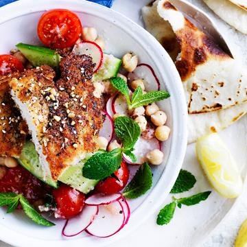 """[Za'atar chicken schnitzel and salad](http://www.foodtolove.com.au/recipes/zaatar-chicken-schnitzel-and-salad-18556