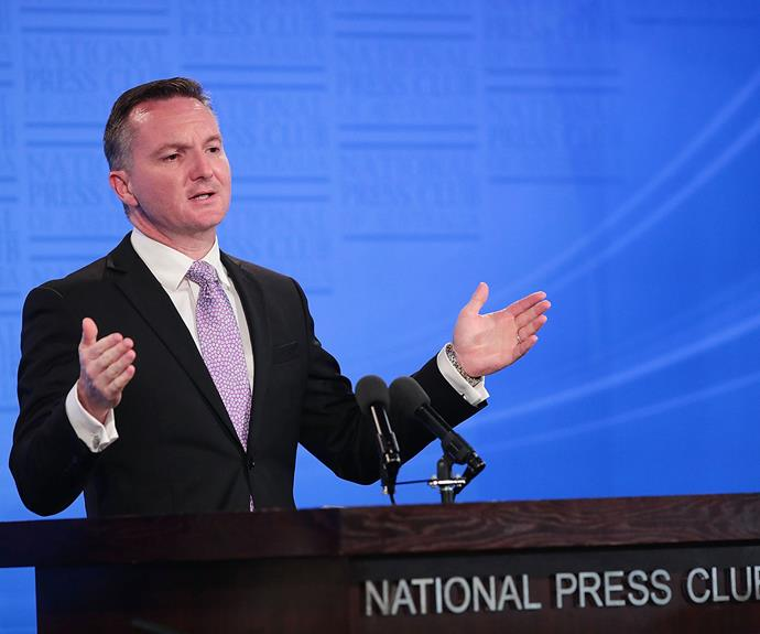 Chris Bowen delivering his budget reply address in Canberra yesterday.