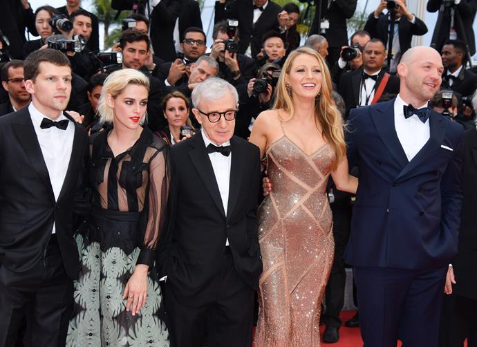 L-R: Jesse Eisenberg, Kristen Stewart, Woody Allen, Blake Lively, Corey Stoll
