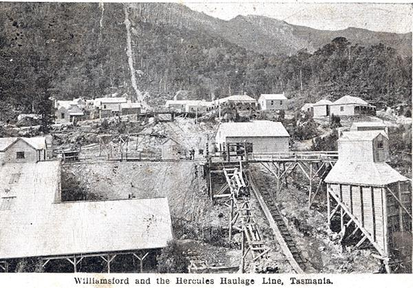 Postcard of Williamsford and the Hercules Haulage Line reproduced by Greg Dickens, 2006, Centre for Tasmanian Historical Studies (Source: Wikimedia)