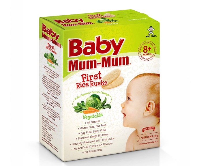 """CATEGORY: MOST POPULAR BABY FOOD. [Baby Mum-Mum Rice Rusks](http://www.babymummum.com.au/ target=""""_blank"""") RRP $2.95 are free from the 10 most common allergens, mess-free and packed in convenient individual packs of two."""