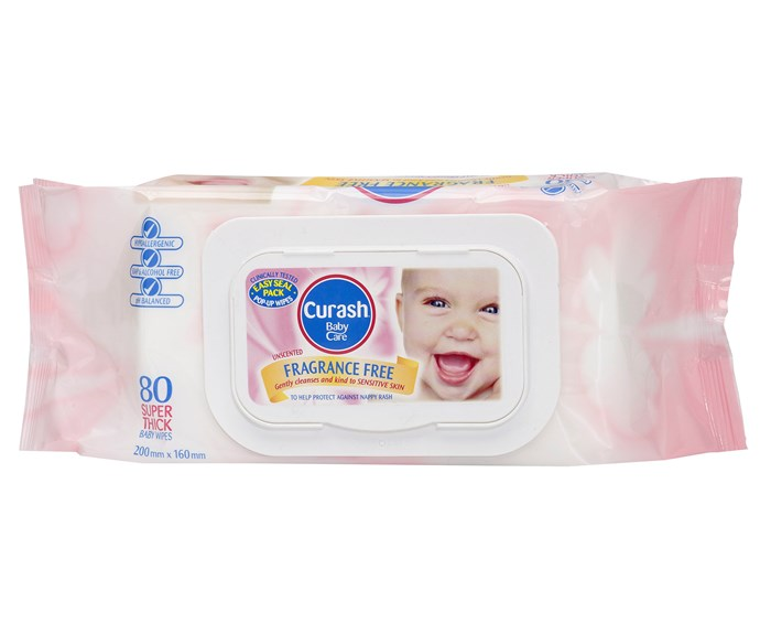 """CATEGORY: MOST POPULAR BABY WIPES (FRAGRANCE-FREE). [Curash Fragrance Free Baby Wipes](http://www.curash.com.au/ target=""""_blank"""") RRP $4.99 are pH balanced, alcohol-free, soap-free and fragrance-free. Thick and soft, they come in a clip seal pack."""