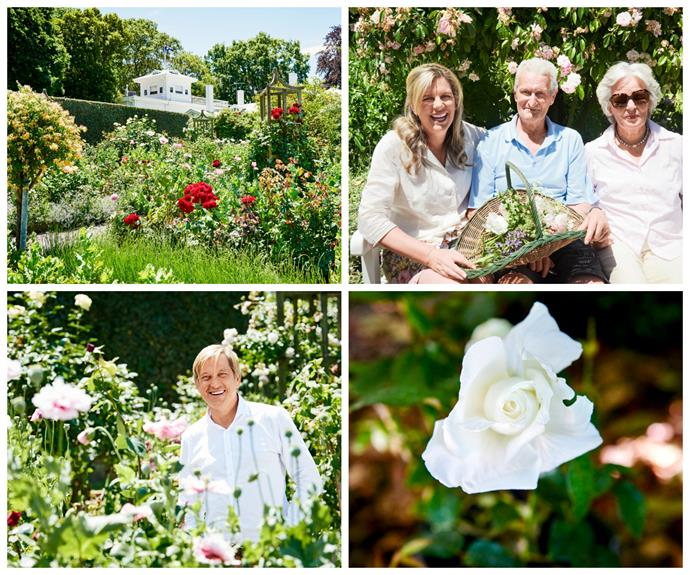 (Clockwise from top left) The 54-hectare Cruden Farm is awash with colour; Dame Elisabeth's grand-daughter Penny and daughter Janet with gardener Michael Morrison; Landscape designer Paul Bangay; and, the stunning Brilliance rose.