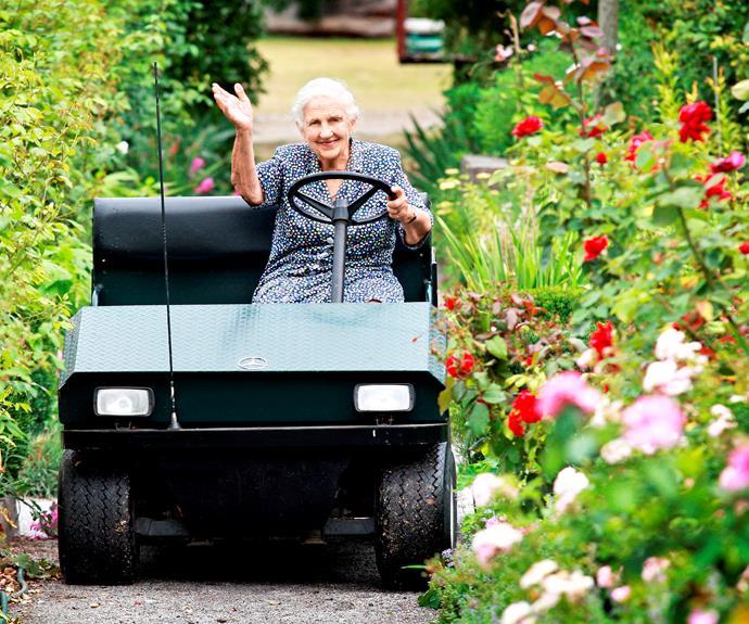 Dame Elisabeth Murdoch used to get around the farm in a golf buggy.