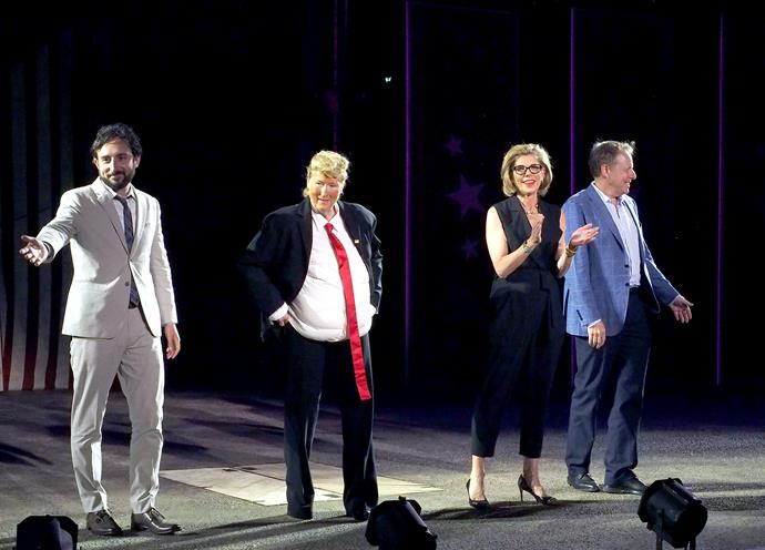 Meryl onstage as Donald Trump.