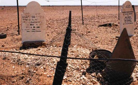 Headstones inscribed with Arabic and facing Mecca in Farina, South Australia. (Image: HSpirit/Wikimedia)