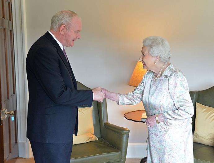 The Queen meeting Northern Irish politician Martin McGuiness