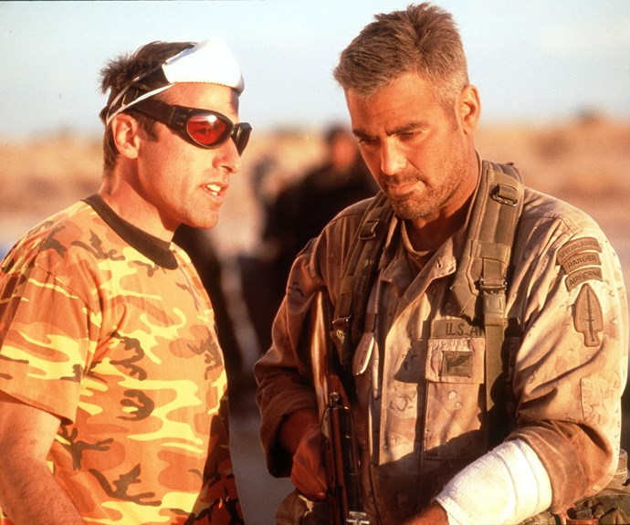 George Clooney and David O Russell on the set of *Three Kings*.