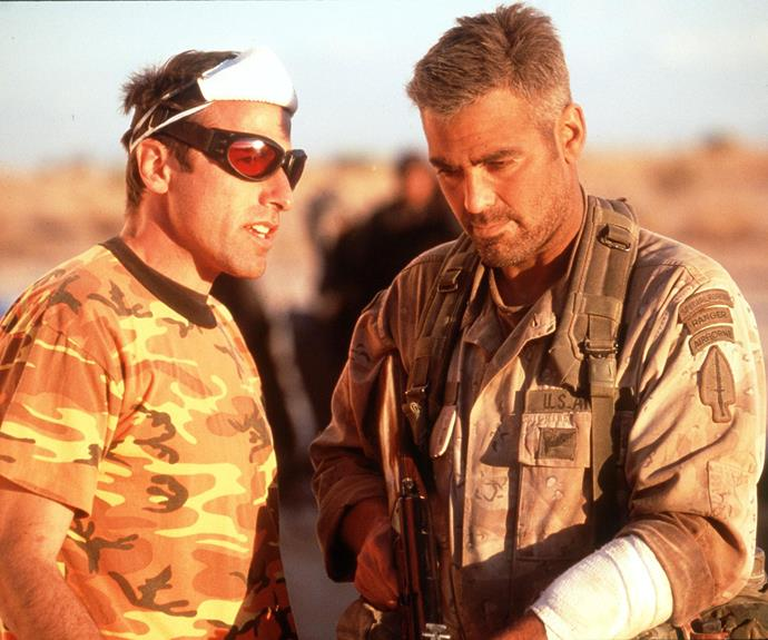 George Clooney and David O Russell on the set of Three Kings.