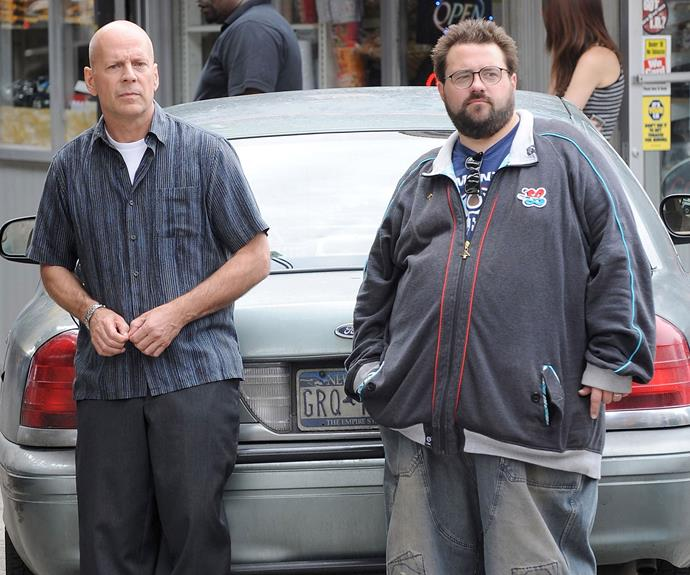 Bruce Willis and Kevin Smith on the set of Cop Out.