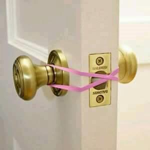 A rubber band across a door's lock will mean your child is never locked in a room.