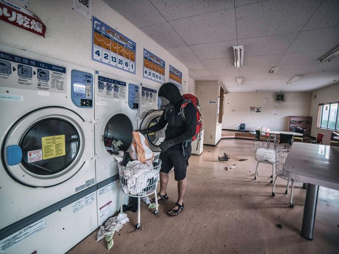People left the town in such a hurry they left their laundry.