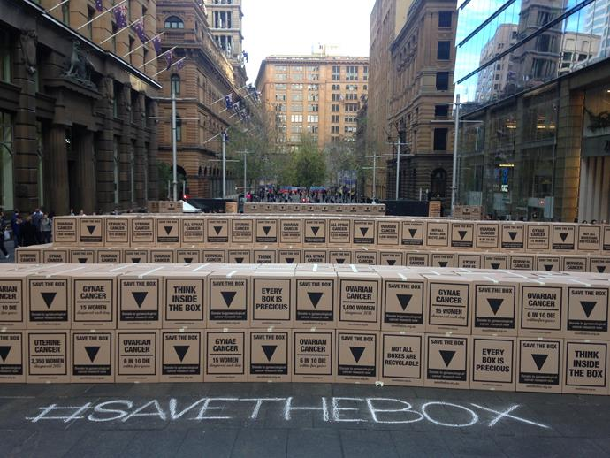 The #SaveTheBox campaign in Martin Place, Sydney