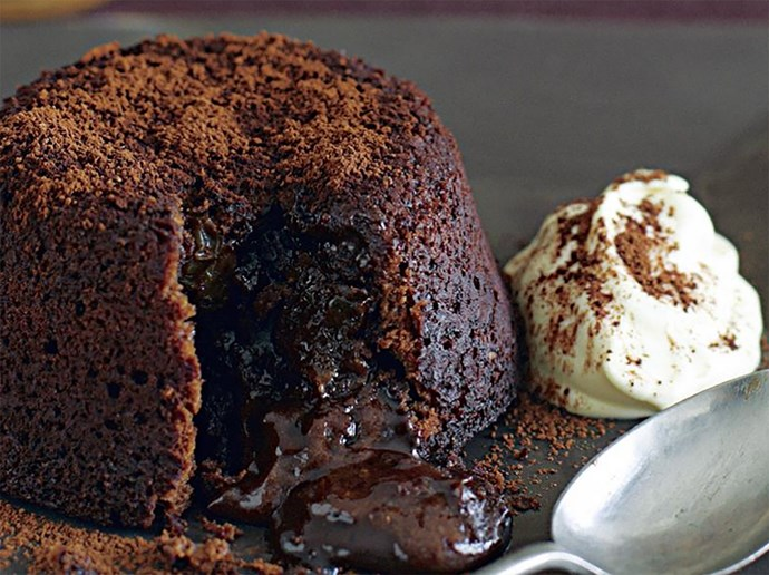 "**Chocolate volcano puddings** An oozing lava cake that can be ready in 22 minutes: you better believe it. [Click here for the full recipe](http://www.foodtolove.com.au/recipes/chocolate-volcano-puddings-3254/|target=""_blank"")"