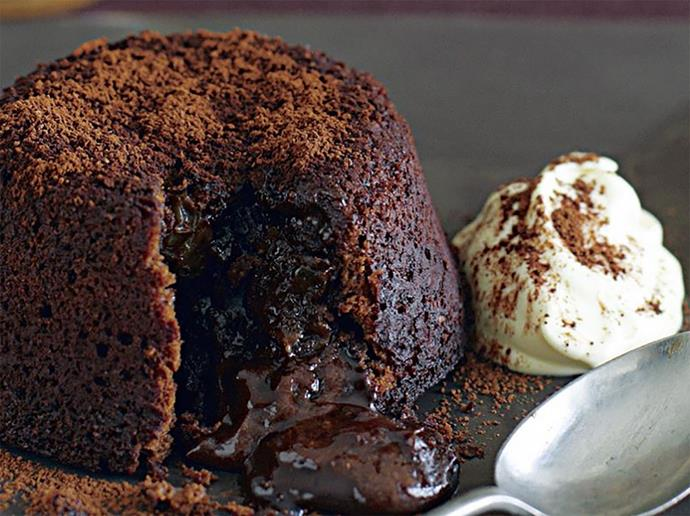 """**Chocolate volcano puddings** An oozing lava cake that can be ready in 22 minutes: you better believe it. [Click here for the full recipe](http://www.foodtolove.com.au/recipes/chocolate-volcano-puddings-3254/