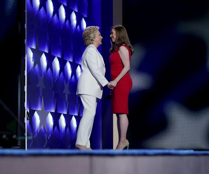 Hillary Clinton stepped on stage after being introduced by daughter Chelsea.