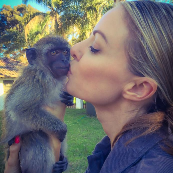 Traci and monkey Lewy