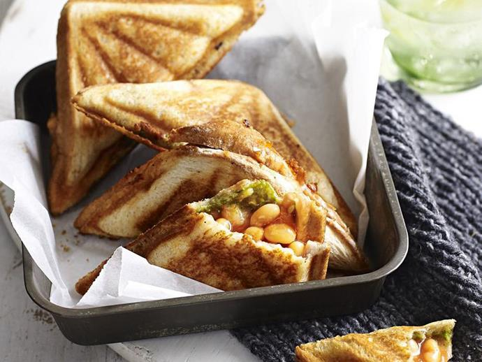 """[Baked beans, pesto and smoked cheddar jaffle recipe](http://www.foodtolove.com.au/recipes/baked-beans-pesto-and-smoked-cheddar-jaffle-17642