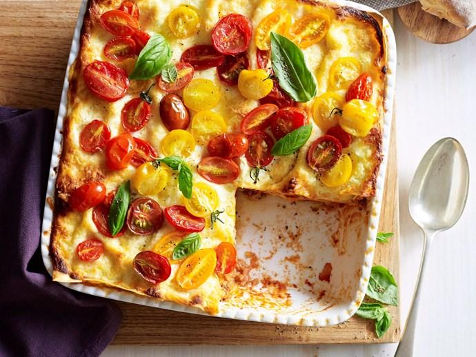"[Chicken and tomato pesto lasagne recipe](http://www.foodtolove.com.au/recipes/chicken-and-tomato-pesto-lasagne-7964|target=""_blank"")."