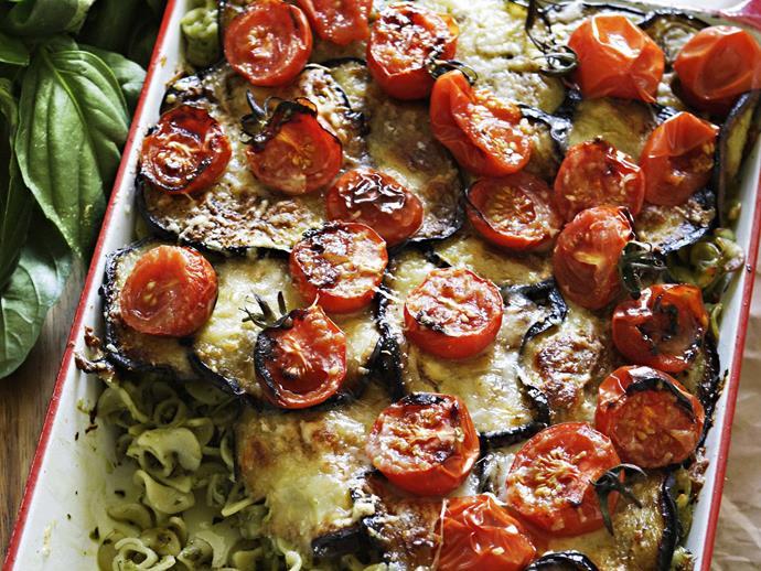"[Eggplant and pesto baked pasta recipe](http://www.foodtolove.com.au/recipes/eggplant-and-pesto-baked-pasta-14604|target=""_blank"")."