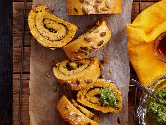 "[Kumara and basil pesto log recipe](http://www.foodtolove.com.au/recipes/kumara-and-basil-pesto-log-8277|target=""_blank"")."