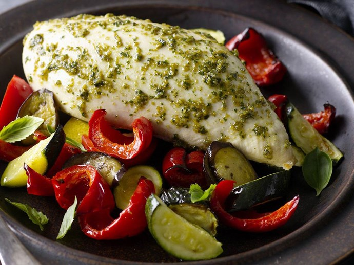 "[Pesto-marinated chicken breasts on Mediterranean vegetables recipe](http://www.foodtolove.com.au/recipes/pesto-marinated-chicken-breasts-on-mediterranean-vegetables-30464|target=""_blank"")."