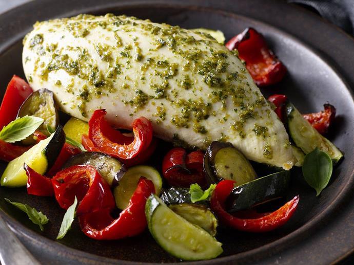 "[Pesto-marinated chicken breasts on Mediterranean vegetables recipe](http://www.foodtolove.com.au/recipes/pesto-marinated-chicken-breasts-on-mediterranean-vegetables-30464|target=""_blank"")."