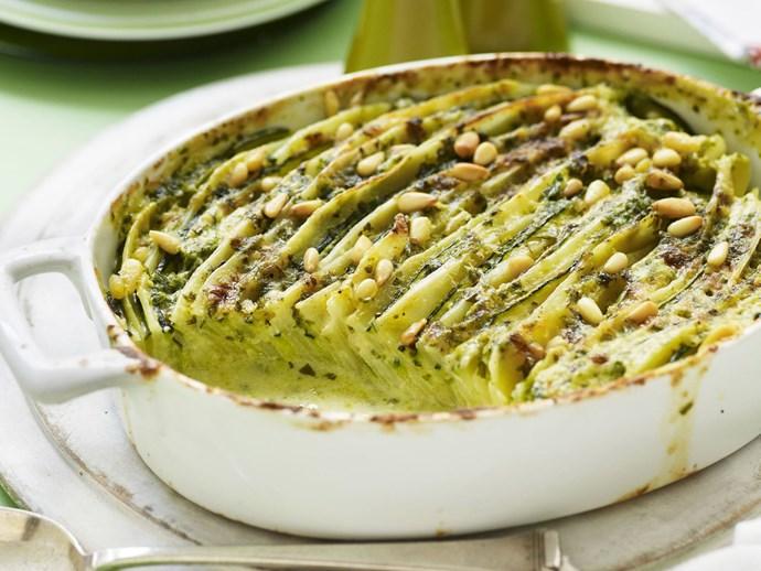 "[Potato, zucchini and pesto bake recipe](http://www.foodtolove.com.au/recipes/potato-zucchini-and-pesto-bake-29686|target=""_blank"")."