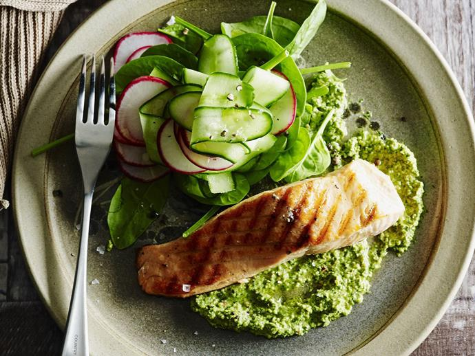 """[Salmon with lime and coriander pesto recipe](http://www.foodtolove.com.au/24-delicious-ways-to-use-pesto-in-your-recipes-32294