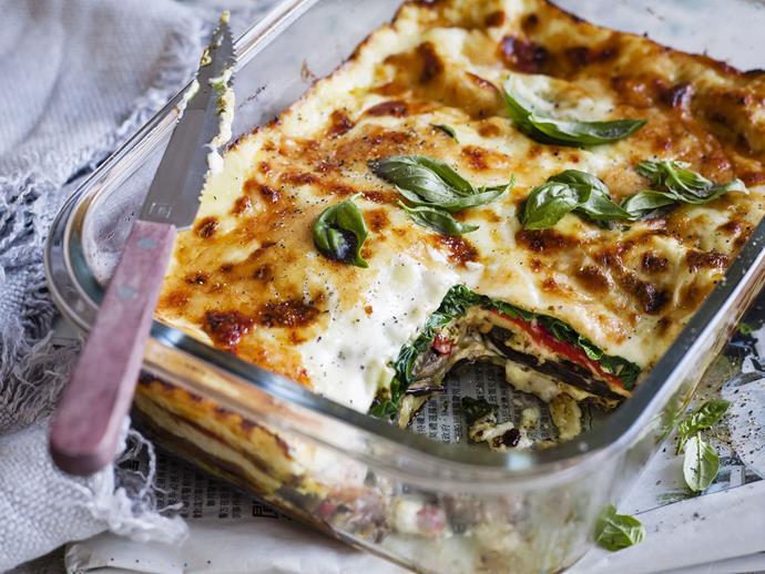 "[Spinach, pesto and parmesan lasagne recipe](http://www.foodtolove.com.au/recipes/spinach-pesto-and-parmesan-lasagne-29363|target=""_blank"")."
