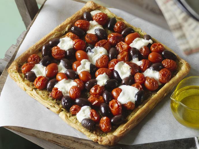 "[Tomato, pesto and olive tart recipe](http://www.foodtolove.com.au/recipes/tomato-pesto-and-olive-tart-21594|target=""_blank"")."