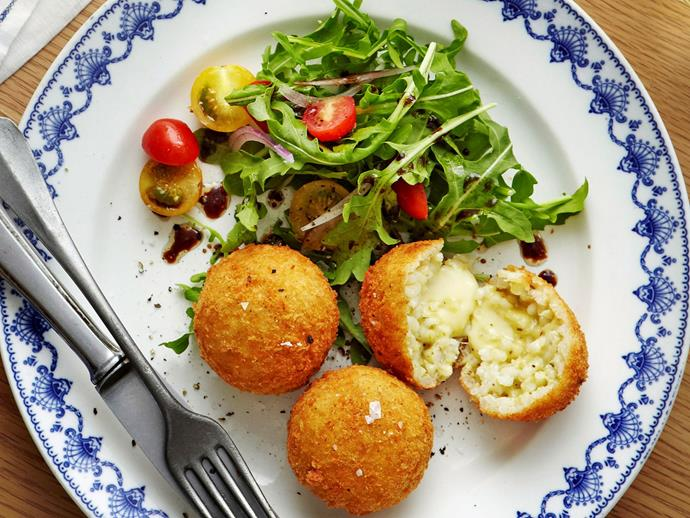 """[Triple cheese and chilli rice balls with pesto recipe](http://www.foodtolove.com.au/24-delicious-ways-to-use-pesto-in-your-recipes-32294