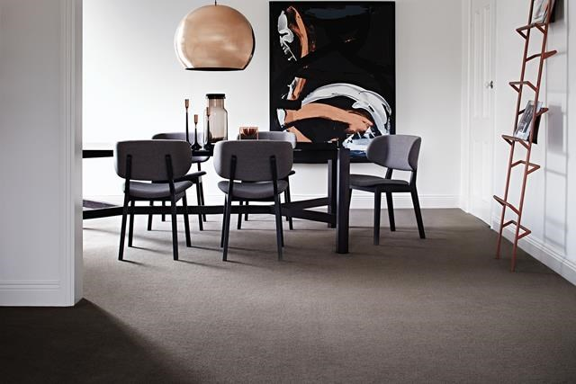 Carpet in the living and dining zones adds warmth to the space and under your feet, too. Hycraft Odyssey cut plush pile wool blend in Calypso, from $86 per m2 (installed), from Godfrey Hirst Carpets.