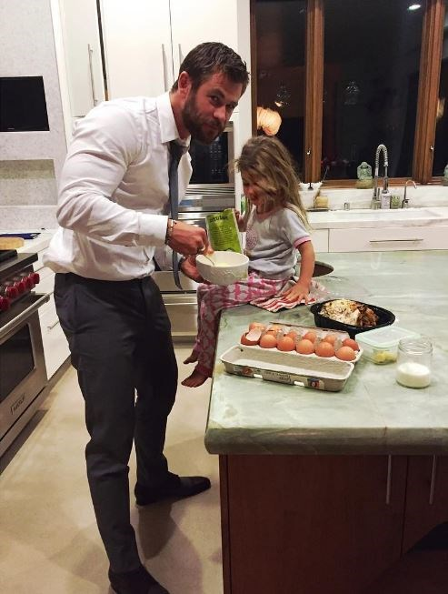 When he made his daughter a late-night snack after spending the evening at the premiere of The Huntsman.