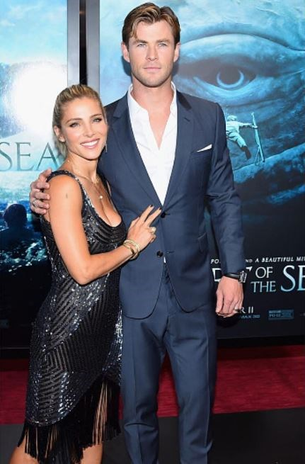 When he walked the red carpet of the film, 'In The Heart of the Sea,' with wife Elsa.