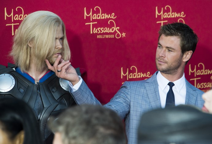 When he took a close look at a wax figure of himself in character as Thor.